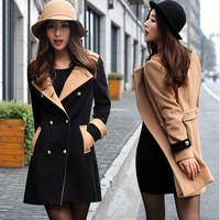 2014 New Women Autumn Winter Fashion Black/Khaki Wool Lapel Double Breasted Coat Long Jacket Overcoat Slim Fit Trench = 1956902404