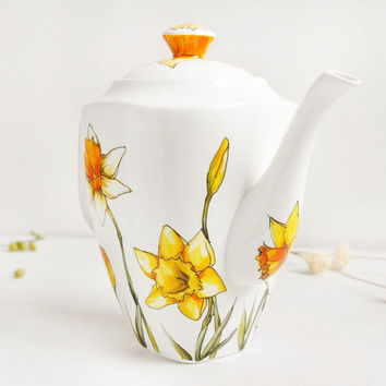 Ready to Ship - Vertical Ceramic Teapot - Daffodils, Botanical Collection
