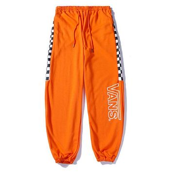 VANS Trending Women Men Print Embroidery Black White Check Drawstring Sport Pants Trousers Sweatpants Orange