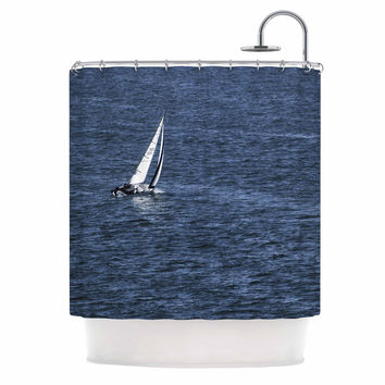 "Nick Nareshni ""Boat On The Ocean"" Blue  Shower Curtain"