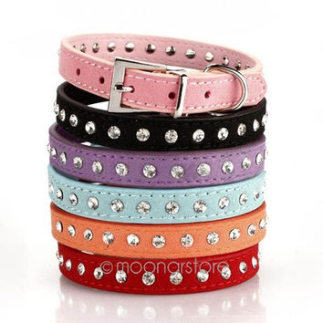 2014 HOT Adjustable Cat Pet Dog Studded Rhinestones Buckle Collar Leather Neck Strap = 1929804356