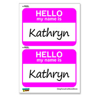 Kathryn Hello My Name Is - Sheet of 2 Stickers