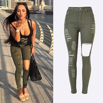 Military High Waist Stretch Jeans Women 2016 Destroyed Women Summer Skinny Jeans Sexy Army Green Ripped Trousers Women KWA0098-5