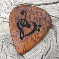Afzelia Xylay Handmade Premium Wood Guitar Pick - Laser Engraved on Both Sides - Music Heart