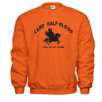 Camp Half-Blood Tee - funny cool Halloween costume halfblood book story movie Percy Jackson boys new - Mens Orange SWEATSHIRT DT0001