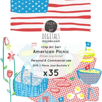 ROYALTY FREE Commercial Use - Clip Art images: American Picnic - American Flag, July 4th, Independece Day - make your own, instant download