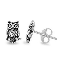 Sterling Silver Owl Stud Earrings