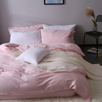 Pink 100% pure linen bedding  Duvet Cover Linen Bed sets 3pcs/lot  Pink Linen Quilt cover hidden button