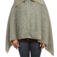 Grey knitted Zip Collar Poncho