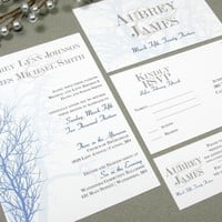 Winter Trees | Modern Wedding Invitation Suite by RunkPock Designs | Rustic Tree Monogram Script Calligraphy design | shown in pale blue, navy, tan and dark brown