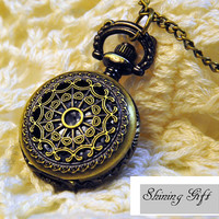 Brass Spider web pocket watch necklace by Shininggift