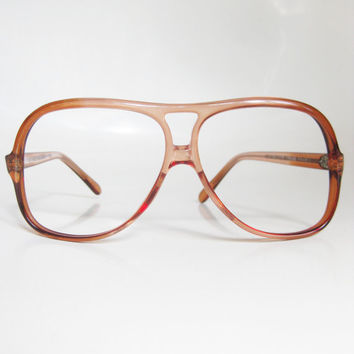 2db7245c18 Vintage 1970s Aviator Eyeglasses Optical Frames Rust Red Clear M