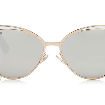 Jimmy Choo - Domi Metal Framed Cat Eye with Silver and Gold Leather Detail Sunglasses