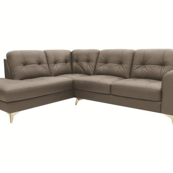 Cedric Leather Sectional Left Grey