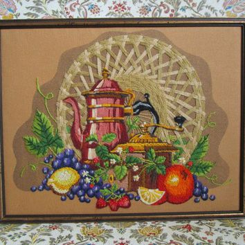 Still Life 1970s Vintage Crewel Embroidery Wall Hanging Orange Grape Fruits Needlework Picture c1970s Home Decor Framed Handmade Art