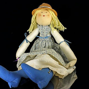 Handmade Doll,  Art Doll, Soft Body, Vintage, Prairie, Calico Dress