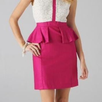 Gallery Opening Lace Eyelet Sleeveless Peplum Dress in White/Fuchsia | Sincerely Sweet Boutique