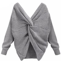 Twisted Back Knitted Batwing Sleeve Loose Women Pullover
