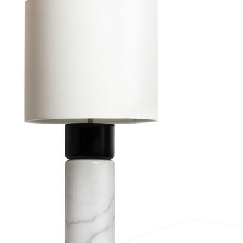 Skylar White Marble and Wood Table Lamp