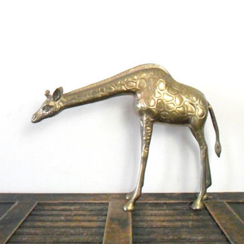 vintage large brass giraffe - zoo animal - statue - hollywood regency