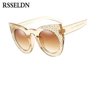 RSSELDN Newest Rhinestone Cat Eye Sunglasses Women Luxury Brand Fashion Glasses Female Summer Style round Shades High Quality UV
