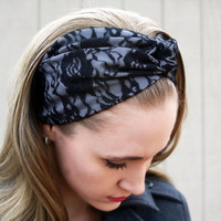 Grey Headband, Black Lace Headband, Gray Vintage Headband, Black Lace Faux Head Wrap for Women, Black Floral Fabric Headband Adult