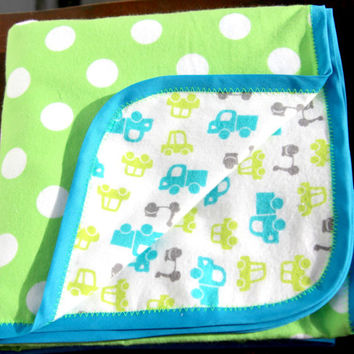 Truck and polka dot swaddle blanket, Baby blanket, Flannel swaddle blanket, baby boy blanket, swaddle wrap, baby wrap, blue baby blanket