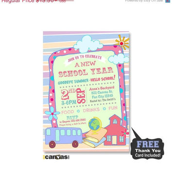 CIJ SALE Printable - Back To School Party Invitation, End of Summer Party Invite, Chalkboard Girls Pink Blue Invites, Celebration For a New