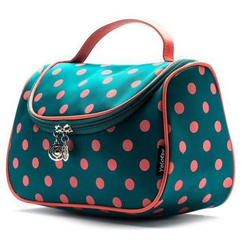 Cosmetic Organizer Polka Dots Yeiotsy Stylish Travel Toiletry Bag with Brushes