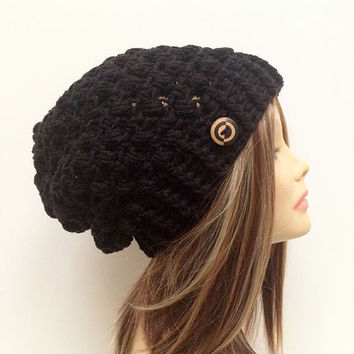 FREE SHIPPING - Crochet Slouch Hat, Beanie, Puff - Black, Black & Wood Button