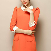 Pointed Flat Collar Half Sleeve Mini A-Line Dress