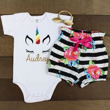 Custom Unicorn Face Striped Bloomer Outfit