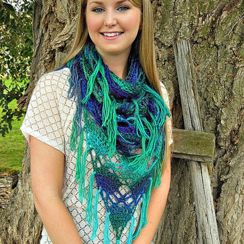 Crochet Fringe Cowl, Infinity Cowl, Triangle Scarf, Women's Scarf, Crochet Scarf, Blue, Green, Ombre, Made To Order