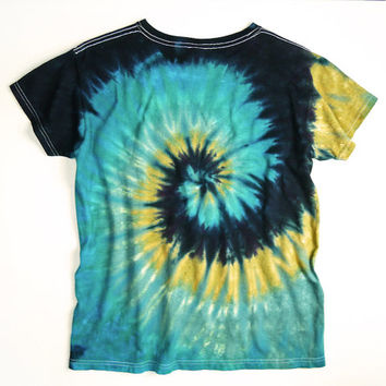 Ladies Tie Dye Shirt, Earthy Spiral, Womans Shirt, Eco-friendly Dyeing