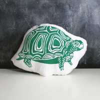 Plush Turtle Pillow. Hand Woodblock Printed. Choose Any Color. made to order.