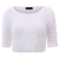 FLUFFY KNIT CROP JUMPER WHITE