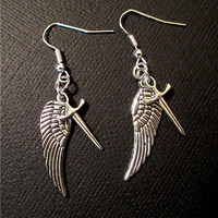Silver Wing and Sword Supernatural Inspired Castiel earrings .925 Sterling Silver hooks