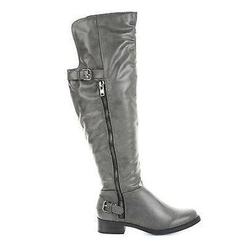Saver Taupe Pu By Soda, Back Strap Buckle Knee High Riding Boots