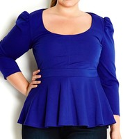 Plus Size 3/4 Peplum Top - City Chic - City Chic