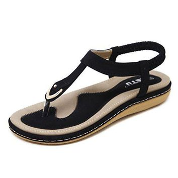 Womens Bohemian T-Strap Vacation Flat Thong Sandals,