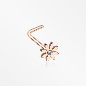 Rose Gold Cutesy Daisy Flower Sparkle L-Shaped Nose Ring