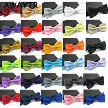 AWAYTR 2017 Ties for Men Fashion Tuxedo Classic Mixed Solid Color Butterfly Wedding Party Bowtie Bow Tie Men's Accessories