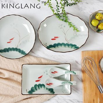 Chinese Style  Vintage Ceramic Hand-Painted  Round  Meat Dumpling Sushi  Dinner Plate Rectangle Ceramic Dish Plate