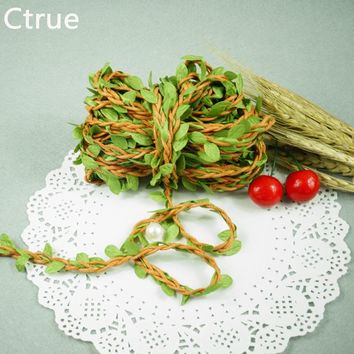 2 Meters Natural Twine String with Leaf DIY craft supplies burlap wedding decoration wedding centerpieces rustic wedding decor