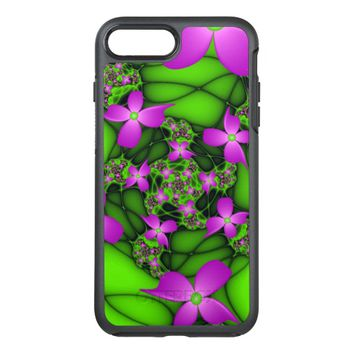 Modern Abstract Neon Pink Green Fractal Flowers OtterBox Symmetry iPhone 7 Plus Case