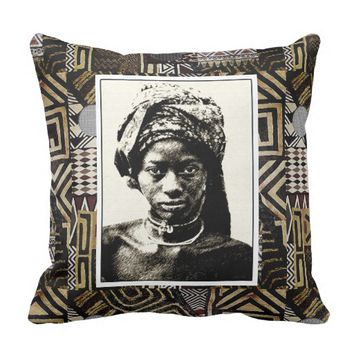 African Princess pin and ink drawing Throw Pillow