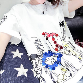 2017 Fashion New Short Sleeve Plus Size T-shirts Casual Female t shirts Funny Character Sequined Tops O-neck Women tshirts 72543