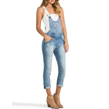 DKF4S Brand Design Women Vintage Denim Dungarees Rips Jeans Jumpsuit Casual Fading Denim Overalls Jeans