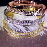 """GUCCI"" Hot Sale Stylish Women Delicate Shiny Diamond Stainless Steel Bracelet Accessories Jewelry"