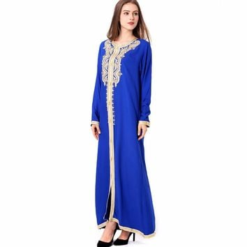 Women Maxi Long sleeve long vintage Dress embroidery moroccan Kaftan abaya Islamic clothing Muslim dress floor length gown 1629